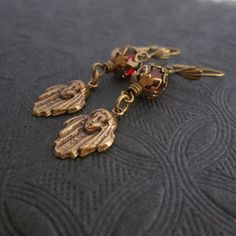 Egyptian Revival Earrings  Art Deco Jewelry  Red by ArxRosarum