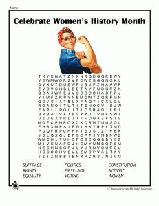 Women's History Month Word Search and other printables on Women's History.  Teach your children their HERstory!