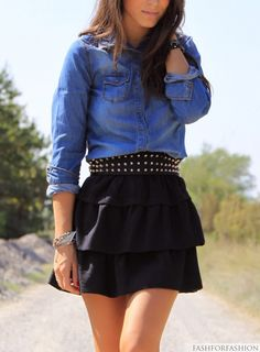 Chambray Denim Shirt, Studded Belt with tiered skirt