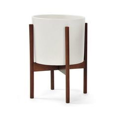 Case Study Ceramic Planter with Wood Stand - Small - White