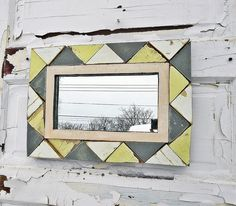 Your place to buy and sell all things handmade Yellow Bathrooms, Yellow Rooms, Triangle Mirror, Reclaimed Wood Mirror, Yellow Mirrors, Rustic Mirrors, Mirror Wall Art, Diy Home Decor, Frame