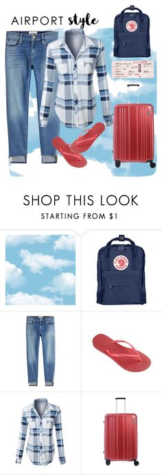 """Airport wear"" by vettec ❤ liked on Polyvore featuring Fjällräven, Frame, Havaianas, LE3NO, Jada and Home Decorators Collection"