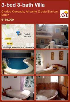 3-bed 3-bath Villa in Ciudad Quesada, Alicante (Costa Blanca), Spain ►€189,000 #PropertyForSaleInSpain