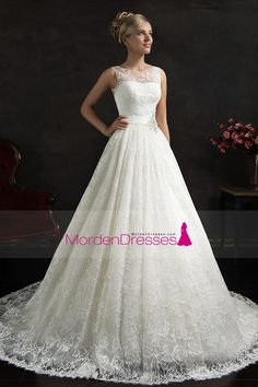 2016 Wedding Dresses Scoop Lace With Applique And Beading A Line