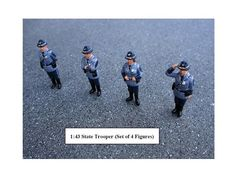 State Troopers 4pc Figure Set For 1:43 Diecast Model Cars by American Diorama - 16200