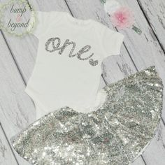 Baby Girl First Birthday Outfit One Year Old Girl Outfit Bodysuit, Headband, Sequin Skirt - Pink and Silver Birthday Shirt 032
