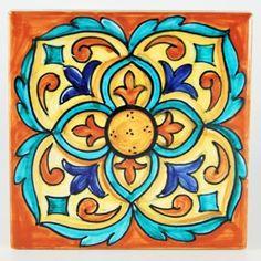 Italian ceramic tile | Deruta Italian pottery by Francesca Niccacci: Tile 22 - I am liking this color theme