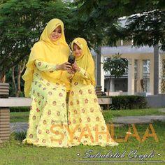 SYAHLAA Salsabilah Couple. Bahan tile brukat full badan. Jilbab ceruti. Melar.