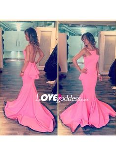Pink Halter Mermaid Evening Gown With Open Back - Prom Dresses - Lovegoddess