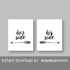 SALE!! Her Side His Side wall art-Instant Download-Set of three (2).Her Side His Side Bedroom Printable. Quote Bedroom Wall Art Print. Side