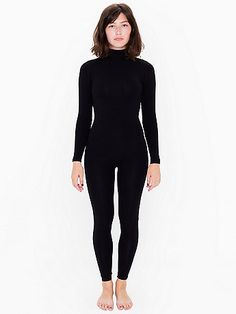 A form-fitting catsuit featuring long sleeves, high neckline and back zipper closure.