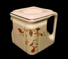 Hall China Autumn Leaf 1 Cup Cube Teapot. Limited Edition made especially for China Specialties to go along with the Jewel Tea Dishes and Dinnerware.