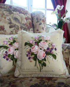 Can cut out floral designs from fabric and sew on pillows.