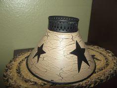 Primitive Crackle Metal Lamp Shade ~ Black Stars ~ Country Decor