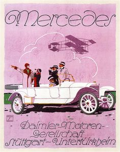 Mercedes-Benz History Carl Benz Tradition Advertising Advertisements Posters Ludwig Hohlwein the most famous German poster artist Bmw Classic Cars, Classic Car Show, Classic Mercedes, Classic Chevy Trucks, Classic Sports Cars, Mercedes Benz, Vintage Advertisements, Vintage Ads, Vintage Racing