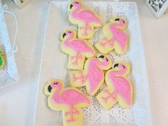 Vivienne's Tropical Pink Flamingo Themed Party – Birthday Edible Flowers, Pink Flowers, Painted Leaves, Hand Painted, Vanilla Macarons, Different Shades Of Pink, Tropical Fruits, Shaped Cookie, Tropical Vibes