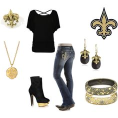 """Ready for some Saints football!!"" by kap-1105 on Polyvore.   I LOVE LOVE LOVE The Saints!  Who DAT!"