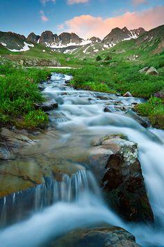 Cascade and waterfall in American Basin near Silverton, Colorado.