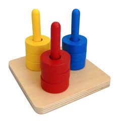 Amazon.com: Colored Discs on 3 Colored Dowels Wooden Montessori Stacker by Maria and Me Color Recognition, Matching and Sorting: Toys & Games