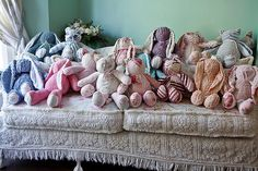 The whole family..........bunny rabbit shabby chic pink vintage chenille bedspread roses baby girl cottage stuffed animal