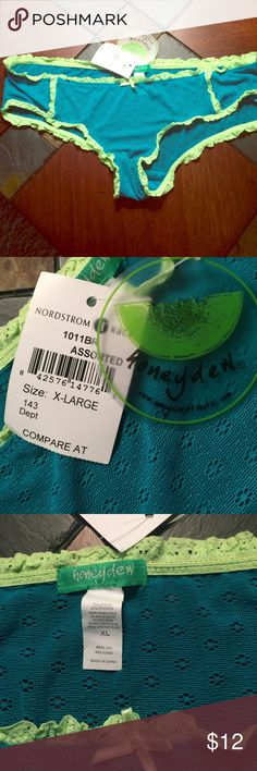 Turquoise Lime Green Hipster Panties XL Never worn! tags still on, super pretty, nice nylon/spandex material, stretchy and comfortable, hand wash only Nordstrom Intimates & Sleepwear Panties