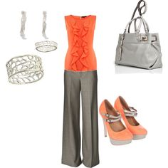 Spring Work - coral and grey!