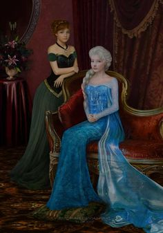 Queen Elsa and princess Anna of frozen, classic portrait style. I really really enjoy made it. Elsa and Anna Frozen portrait Disney Pixar, Disney Fan Art, Film Disney, Disney Frozen Elsa, Disney Animation, Disney And Dreamworks, Disney Cartoons, Disney Magic, Disney Movies
