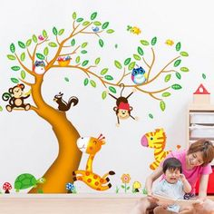 Fashionable Cartoon Animals Trees Pattern Two-Sided Removable DIY Wall Sticker