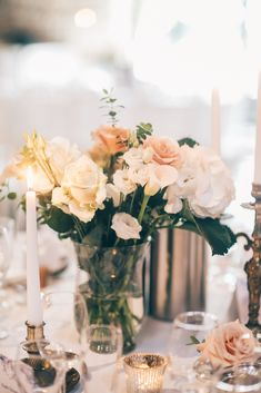 Blush Flower Stem Centrepieces - Annabel Staff Wedding Photography | Marry Me in France Outdoor French Wedding at Manoir de Longeveau | Limor Rosen Wedding Dress | Coast Blush Sequin Top & Bespoke Skirt Bridesmaid Separates | Ted Baker Navy Suit