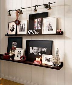 Ledge shelves with photos