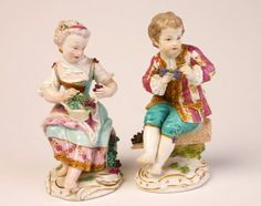 Pair of Meissen figures of vintners