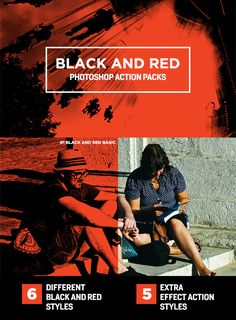 Black and Red Photoshop Action Packs - Photo Effects Actions