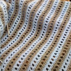 Inspiration :: Simple rows of DC & chain spaces, alternated with rows of SC.  Nice throw for warmer weather.  (No pattern.)    . . . .   ღTrish W ~ http://www.pinterest.com/trishw/  . . . .  #crochet #afghan #blanket