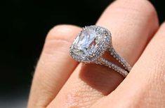 1.5 Carat Halo Engagement Ring And Wedding Band On Finger 54