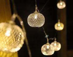 Silver White Sphere metal jaali String lights & by StudioKaeth