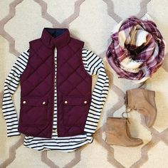 The perfect Fall outfit inspiration with puffer vests and booties.