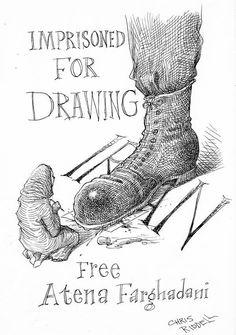 International cartoonists continue to support imprisoned artist #AtenaFarghadani.  #Draw4Atena at Edinburgh Festival:
