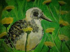 Chick with flowers kuiken tussen de paardebloemen, acryl op papier nov 2014