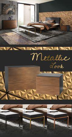 "Elegantes Bett ""Sirone"" im modernen Art-Déco-Look mit amberfarbenem Rahmen. Art Deco, Trends, Elegant, Modern Living, Bed, Metal, Table, Furniture, Home Decor"