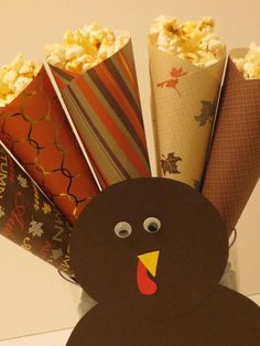 Popcorn turkey at a Thanksgiving party!  See more party planning ideas at CatchMyParty.com!