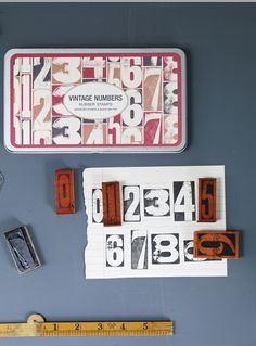 vintage numbers rubber stamps