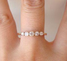 Art Deco Diamond Ring Vintage Five Diamond Wedding by luxedeluxe, $268.00