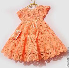 Frocks For Babies, Baby Girl Frocks, Frocks For Girls, Girls Dresses, Crochet Baby Dress Pattern, Newborn Crochet Patterns, Crochet Baby Clothes, Frock Design, Beautiful Crochet
