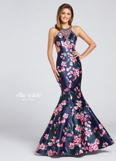 Ellie Wilde for Mon Cheri EW117091 is a high neck Ellie Wilde prom gown in floral printed Mikado with a mermaid silhouette and a strappy back.