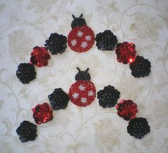 BEADED LADYBUGS with Sequined Posies  One Pair  by KeepsakesStudio, $10.00