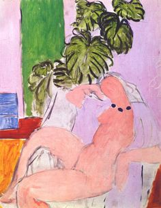Nu au Fauteuil, Plante Verde (Nude in Armchair and Foliage) 1937-39. Henri Matisse. Oil on Canvas 28 x 25 in. Musee Matisse, Nice FR
