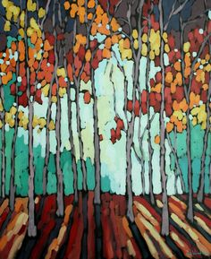 Jennifer Woodburn: Through the Looking Glass Abstract Tree Painting, Abstract Nature, Watercolor Trees, Abstract Landscape, Painting Trees, Landscape Quilts, Landscape Paintings, Tree Paintings, Arte Floral
