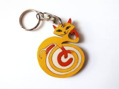 Wooden keychain Cat in orange hand-painted handmade keyrings