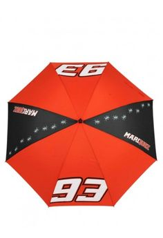 Large-sized umbrella, inspired by the sporty style of Marc Marquez. Red umbrella, personalised with the Marquez race number 93, the Ant symbol and Marquez lettering.