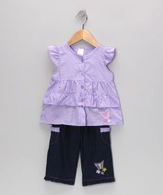 Take a look at this Purple Butterfly Tunic & Jeans - Infant & Toddler by Coney Island Kids on #zulily today!